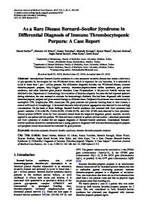 As a Rare Disease Bernard Soulier Syndrome in Differential Diagnosis of Immune Thrombocytopenic Purpura: A Case Report