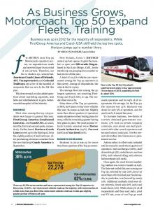 As Business Grows, Motorcoach Top 50 Expand Fleets, Training