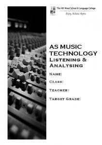 AS MUSIC TECHNOLOGY Listening & Analysing