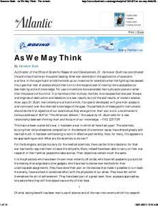 As We May Think. Print Close. By Vannevar Bush