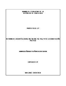 ASAMBLEA LEGISLATIVA DE LA REPÚBLICA DE COSTA RICA PROYECTO DE LEY