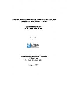 ASBESTOS AND CONTAMINANTS OF POTENTIAL CONCERN ABATEMENT AND REMOVAL PLAN 130 LIBERTY STREET NEW YORK, NEW YORK