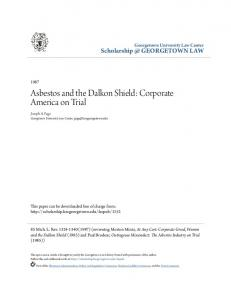 Asbestos and the Dalkon Shield: Corporate America on Trial