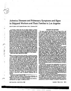 Asbestos Diseases and Pulmonary Symptoms and Signs in Shipyard Workers and Their Families in Los Angeles