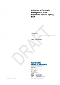 Asbestos in Grounds Management Plan, Hopetown School, Wyong, NSW