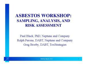 ASBESTOS WORKSHOP: SAMPLING, ANALYSIS, AND RISK ASSESSMENT
