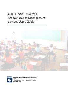 ASD Human Resources: Aesop Absence Management Campus Users Guide