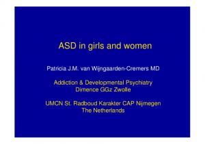 ASD in girls and women