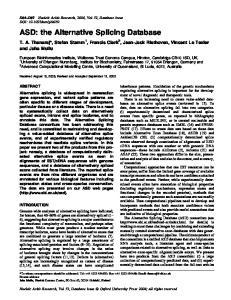 ASD: the Alternative Splicing Database