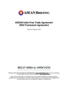 ASEAN India Free Trade Agreement 2003 Framework Agreement