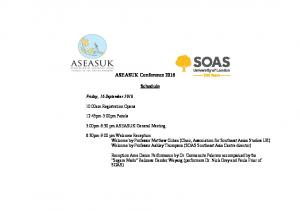 ASEASUK Conference Schedule