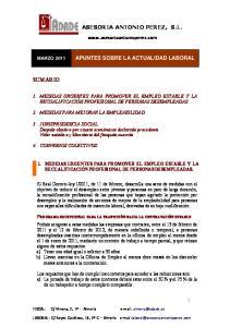 ASESORIA ANTONIO PEREZ, S.L. APUNTES SOBRE LA ACTUALIDAD LABORAL
