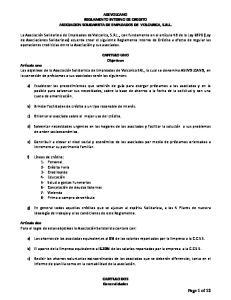 ASEVOLCANO REGLAMENTO INTERNO DE CREDITO ASOCIACION SOLIDARISTA DE EMPLEADOS DE VOLCARICA, S.R.L