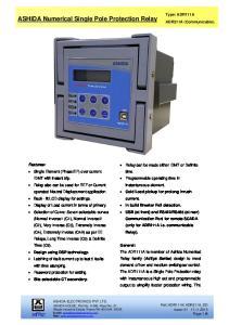 ASHIDA Numerical Single Pole Protection Relay