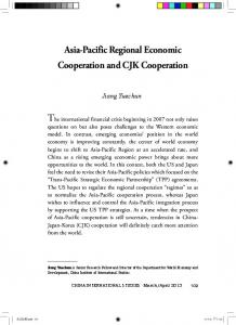 Asia-Pacific Regional Economic Cooperation and CJK Cooperation