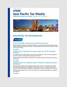 Asia Pacific Tax Weekly KPMG Asia Pacific Tax Centre Content to 21 July 2016