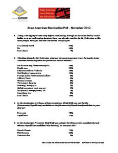 Asian American Election Eve Poll November 2012
