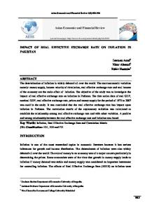 Asian Economic and Financial Review IMPACT OF REAL EFFECTIVE EXCHANGE RATE ON INFLATION IN PAKISTAN