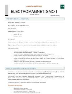 ASIGNATURA DE GRADO: ELECTROMAGNETISMO I