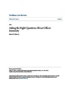 Asking the Right Questions About Officer Immunity