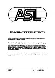 ASL DIGITAL WIRELESS INTERCOM (Preliminary Information)