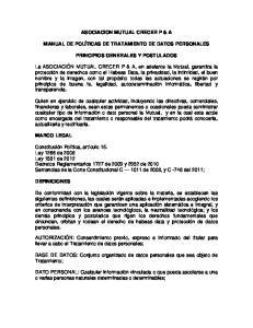 ASOCIACION MUTUAL CRECER P & A MANUAL DE POLÍTICAS DE TRATAMIENTO DE DATOS PERSONALES PRINCIPIOS GENERALES Y POSTULADOS