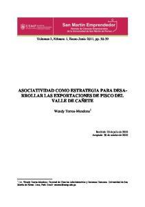 ASOCIATIVIDAD COMO ESTRATEGIA PARA DESA- RROLLAR LAS EXPORTACIONES DE PISCO DEL VALLE DE CAÑETE