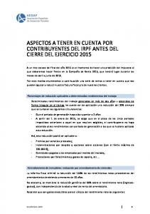 ASPECTOS A TENER EN CUENTA POR CONTRIBUYENTES DEL IRPF ANTES DEL CIERRE DEL EJERCICIO 2015
