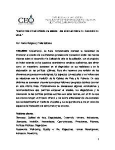 ASPECTOS CONCEPTUALES SOBRE LOS INDICADORES DE CALIDAD DE VIDA