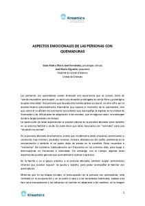 ASPECTOS EMOCIONALES DE LAS PERSONAS CON QUEMADURAS