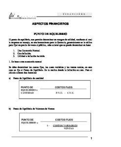 ASPECTOS FINANCIEROS PUNTO DE EQUILIBRIO