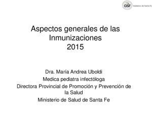 Aspectos generales de las Inmunizaciones 2015