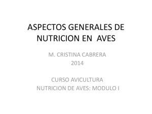 ASPECTOS GENERALES DE NUTRICION EN AVES