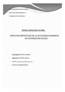 ASPECTOS IMPOSITIVOS DE LA ACTIVIDAD ECONOMICA DE DISTRIBUCION DE GAS