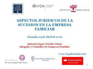 ASPECTOS JURIDICOS DE LA SUCESION EN LA EMPRESA FAMILIAR