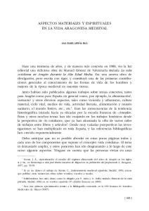 ASPECTOS MATERIALES Y ESPIRITUALES EN LA VIDA ARAGONESA MEDIEVAL