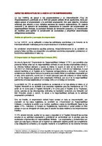 ASPECTOS MERCANTILES DE LA NUEVA LEY DE EMPRENDEDORES