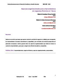 Aspectos organizacionales para emprendedores de negocios eficientes en Toluca