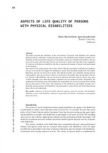 ASPECTS OF LIFE QUALITY OF PERSONS WITH PHYSICAL DISABILITIES