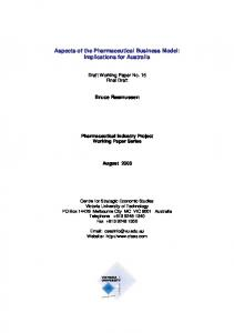 Aspects of the Pharmaceutical Business Model: Implications for Australia