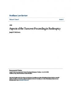 Aspects of the Turnover Proceeding in Bankruptcy