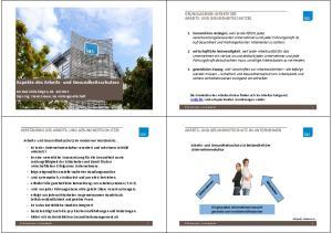 Aspekte des Arbeits- und Gesundheitsschutzes