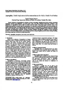 Aspergillus, Health Implication & Recommendations for Public Health Food Safety