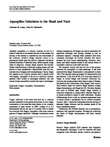 Aspergillus Infections in the Head and Neck