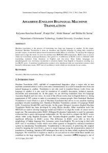 ASSAMESE-ENGLISH BILINGUAL MACHINE TRANSLATION