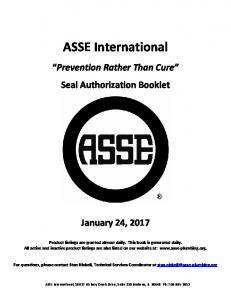 ASSE International. Prevention Rather Than Cure Seal Authorization Booklet. January 24, 2017