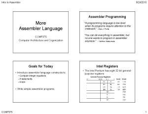 Assembler Programming. Goals for Today. Intel Registers