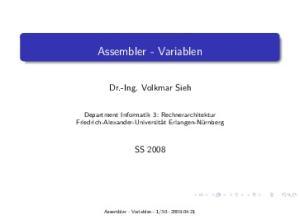 Assembler - Variablen