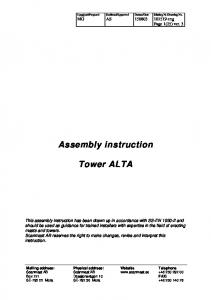 Assembly instruction. Tower ALTA