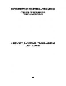 ASSEMBLY LANGUAGE PROGRAMMING LAB MANUAL